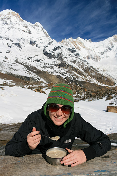 About Going the Whole Hogg: Porridge at Annapurna Base Camp, Nepal