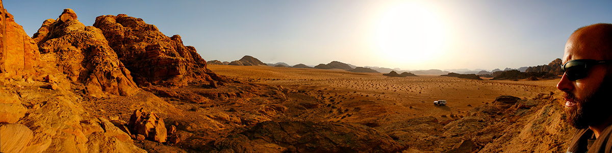 About Going the Whole Hogg: Wadi Rum Sunset Panorama, Jordan