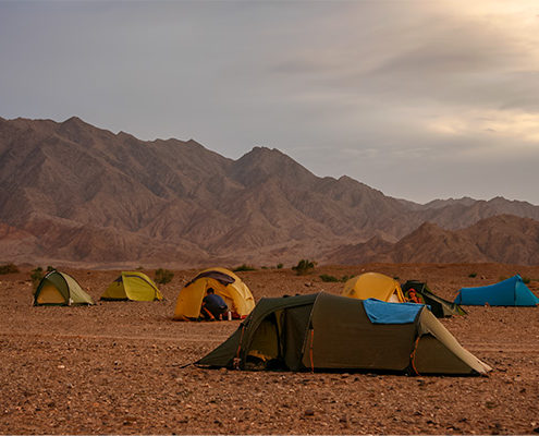 Sandstorm: The tents set up on stony ground in Qinghai Province, China