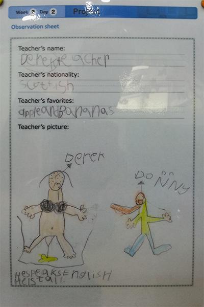 Teaching English in Korea: Work, Travel & Save - Kindergarten Drawing of Del