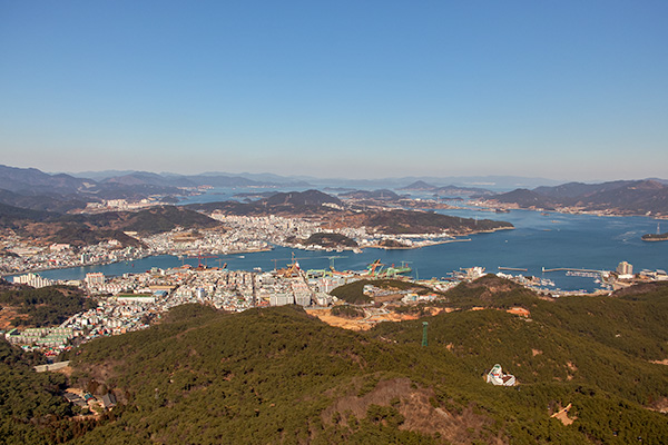 About Going the Whole Hogg: A view over Tongyeong from the top of Mireuksan