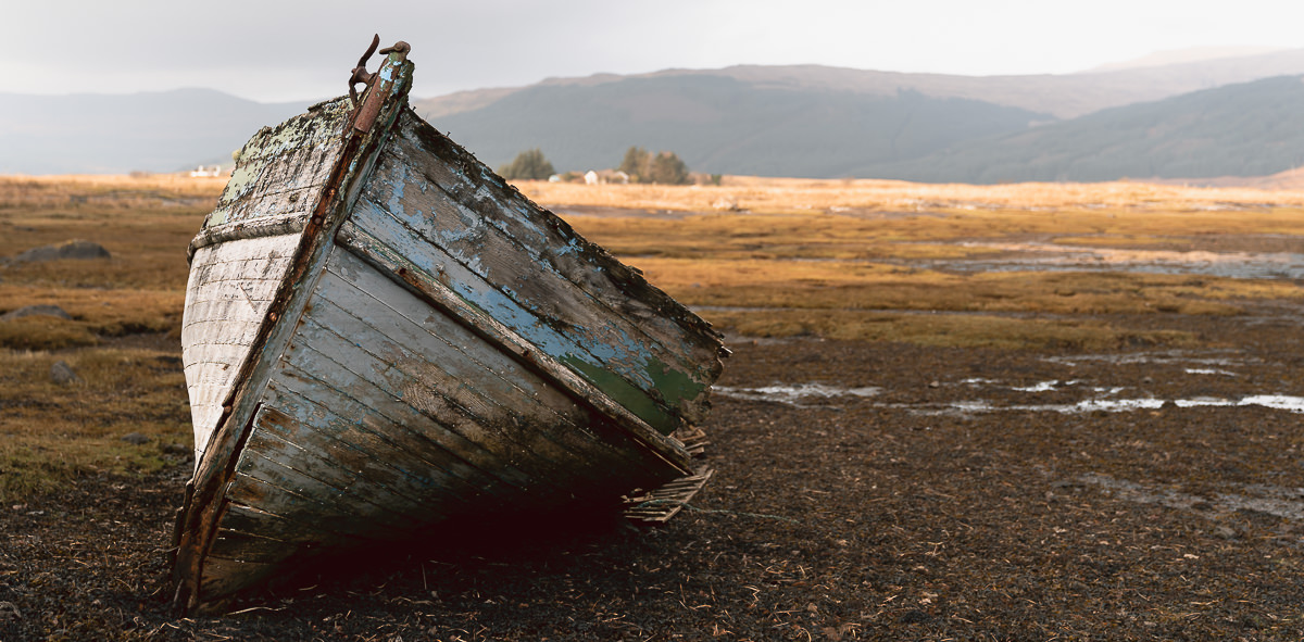An abandoned boat wreck on the Isle of Mull.