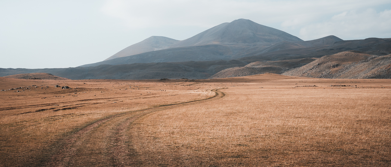 An off-road track leading towards Abuli Pass on the Javakheti Plateau in Georgia