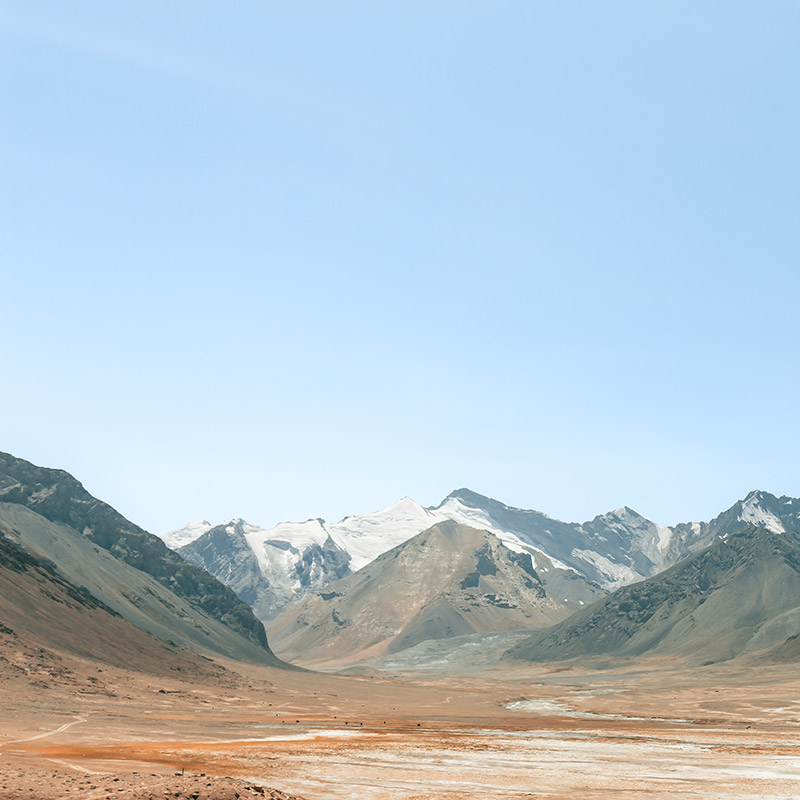 View looking down from Ak-Baital Pass, the highest pass on the Pamir Highway at 4655m