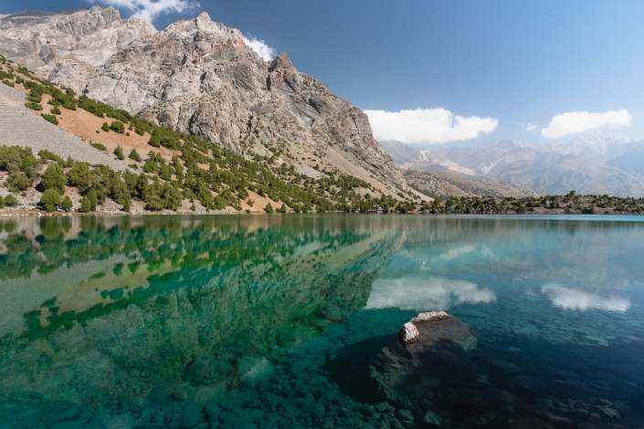 The colours begin to come out as the morning progresses at Alauddin Lake in Tajikistan's Fann Mountains