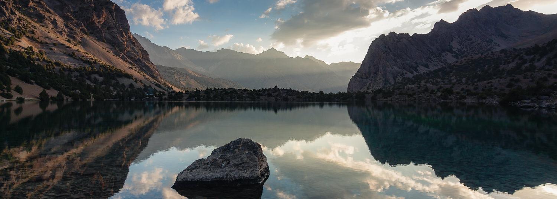 Alauddin Lake at sunrise in the Fann Mountains Tajikistan