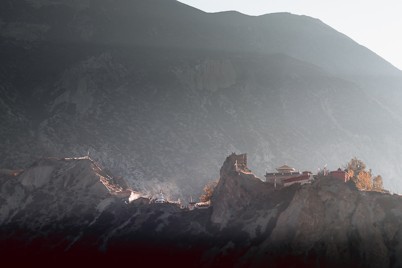 Smoke rising from the Buddhist monastery outside of Manang