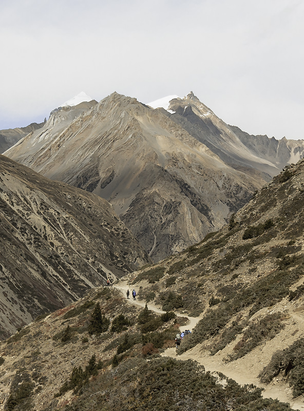 Trekkers on the dry trail towards Yak Kharka, surrounded by sparse vegetation