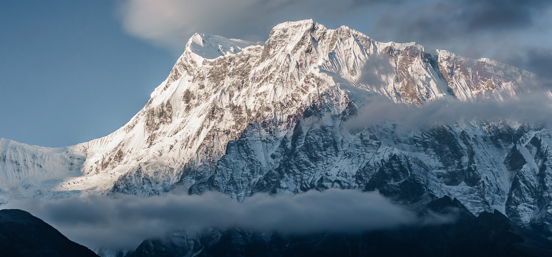 Sunrise hitting the Annapurna Mountains in Nepal