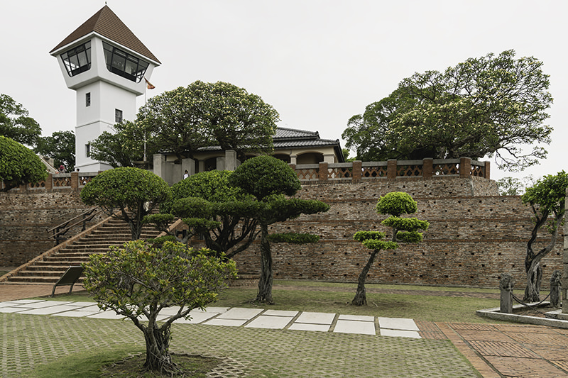 The layered inner walls of Anping Fort in Tainan, with the modern watchtower on top