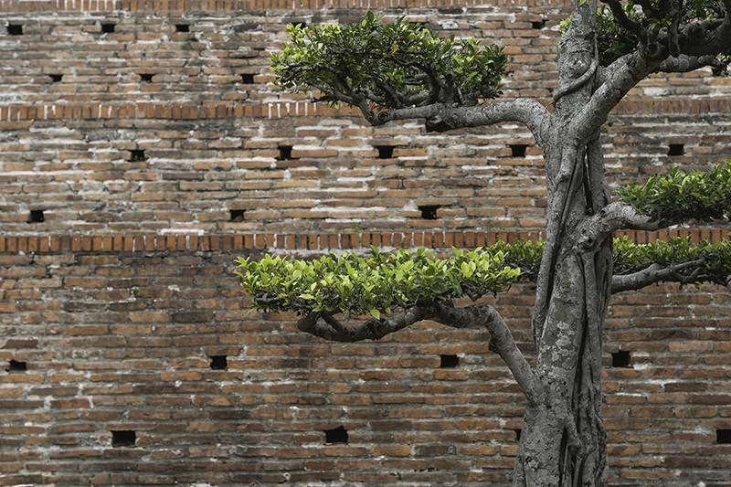 The old walls of Anping Fort in Tainan are surrounded by attractive, well maintained trees