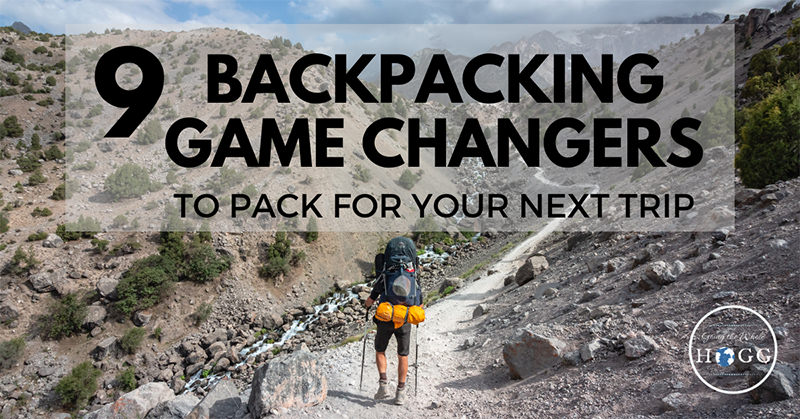 An image of a man hiking in a poster image for innovative backpacking and hiking gear