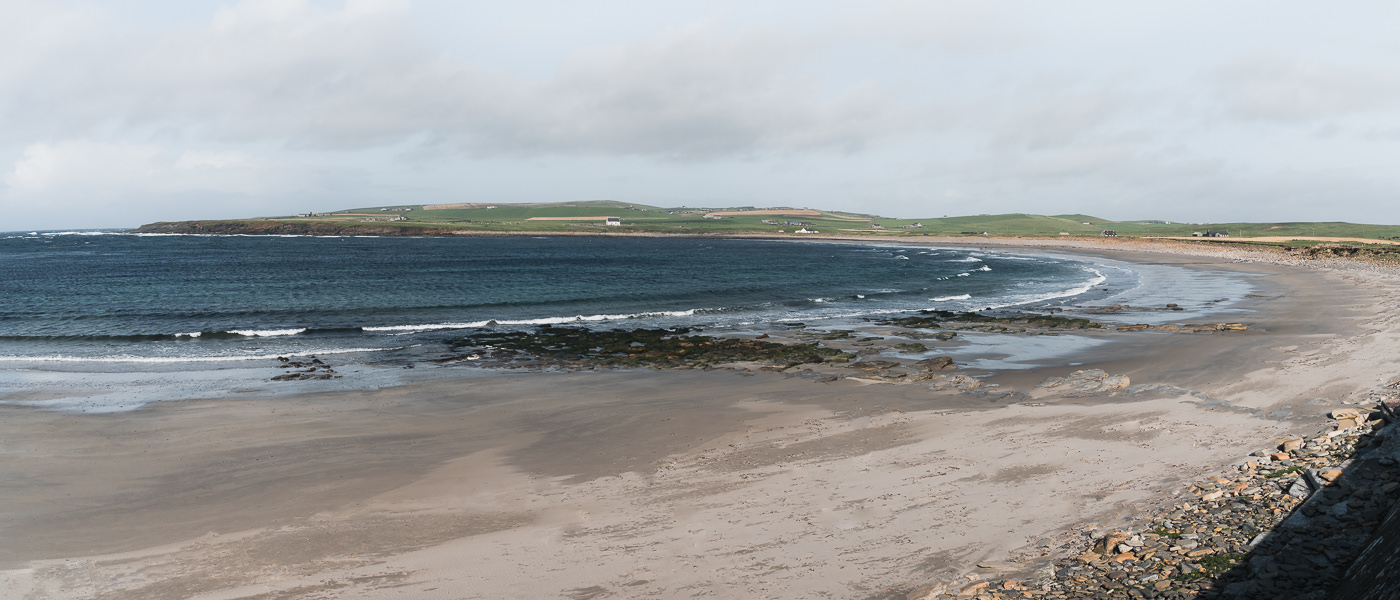 The windswept Bay of Skaill on the west coast of Orkney Mainland in Scotland