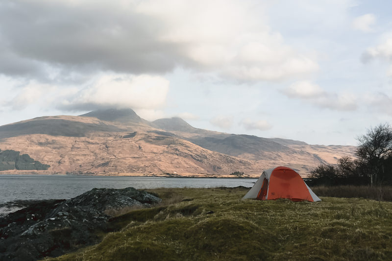 Looking across Loch Scridain from a wild camp spot to Ben More, the highest mountain and only monroe on the Isle of Mull.