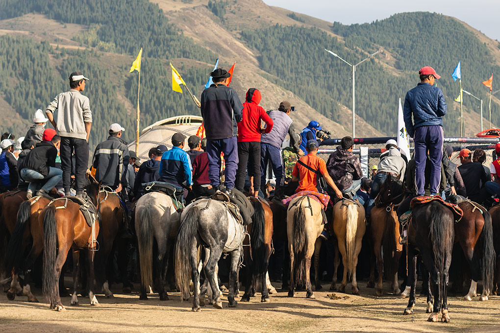 How do get a good view of the action when you're at the back? Stand on your horse of course! Young men stand on the saddles of their horses to see what's happening at the World Nomad Games in Kyrgyzstan.