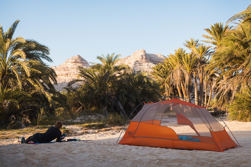 Being able to pitch the Big Agnes Copper Spur tent without the fly, like here on the sand in an Omani wadi, helps makes it an indispensable part of our backpacking camping gear setup