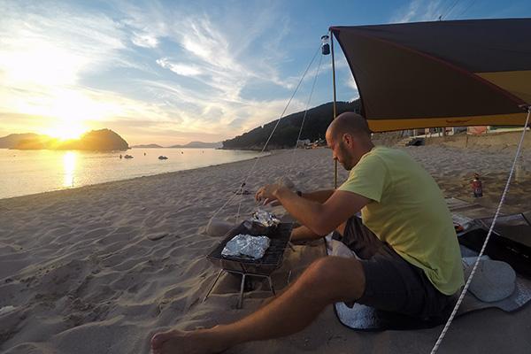 Beach BBQ, Bijindo Island, Korea