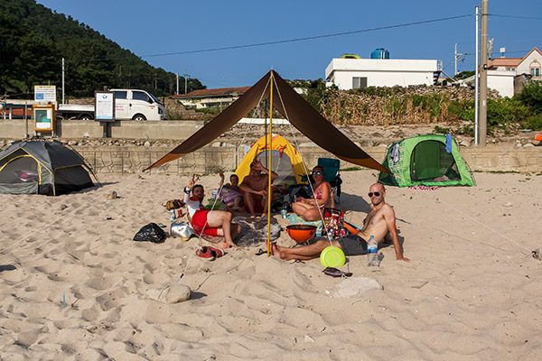 Camping on Bijindo Island Beach, Korea