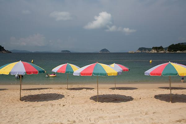Bijindo Island Beach Parasols in Summer, Korea