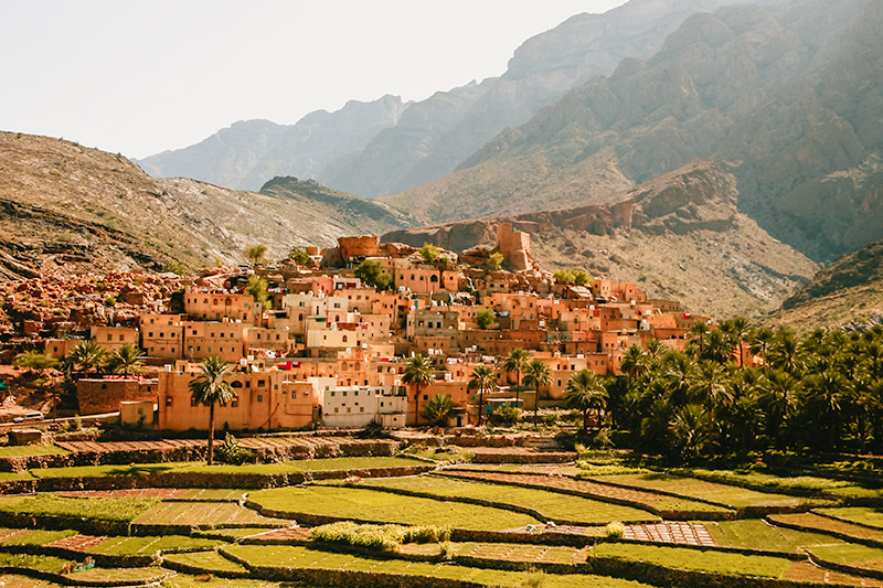 The village of Bilad Sayt in Oman, the sandy coloured buildings glowing in the sun, fronted by low rice terraces and backed by stark mountains.