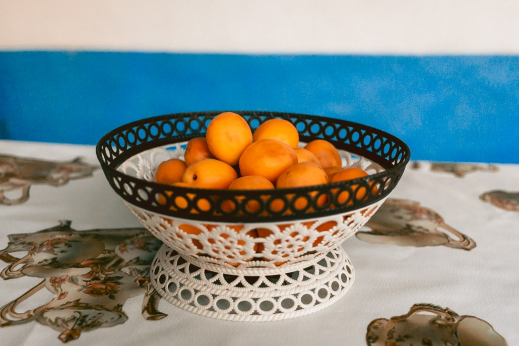 A bowl of fresh apricots on a table at Akim Homestay in the Wakhan Valley in Tajikistan