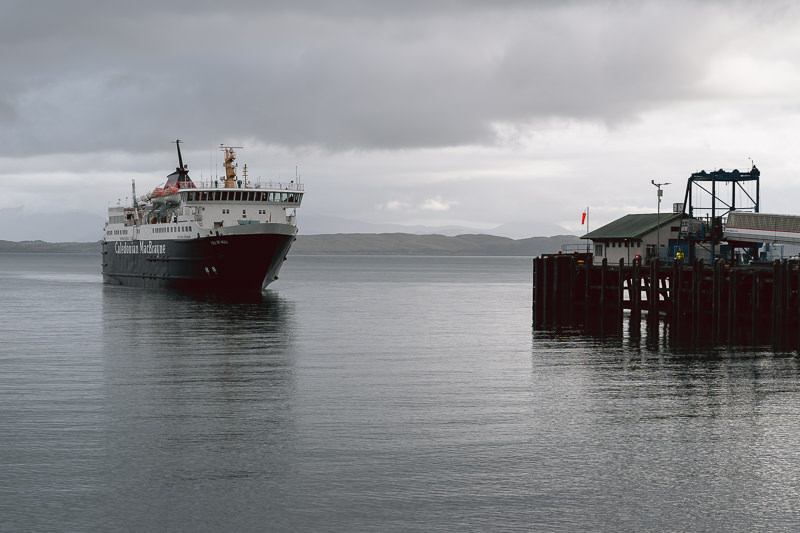 The Calmac ferry pulls into the dock at Craignure on the Isle of Mull.