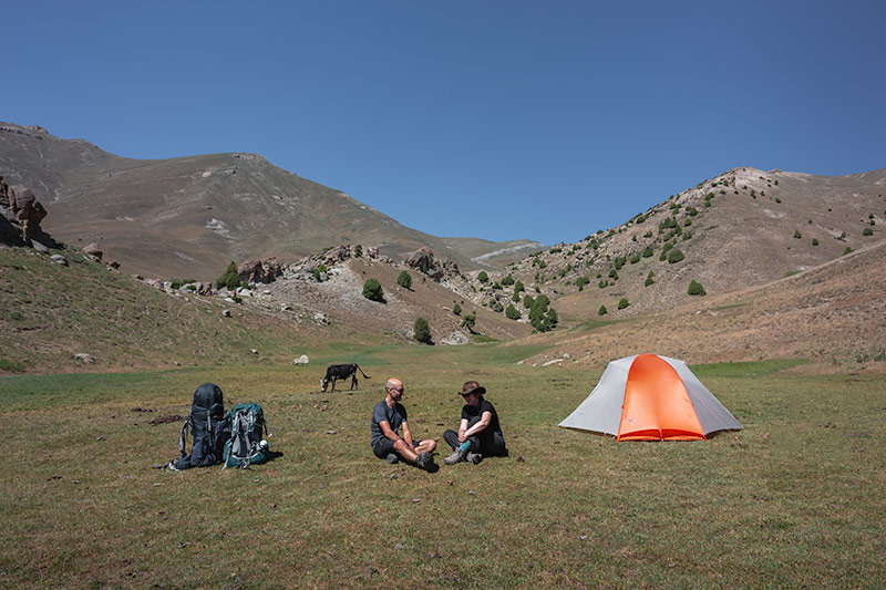 Independent Trekking In The Fann Mountains, Tajikistan: Haft Kul to Alauddin - Camped in the meadow below Tavasang Pass