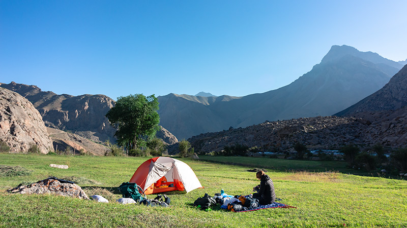 Camping near the northern shore of the 7th lake of the Haft Kul while Fann Mountains trekking in Tajikistan
