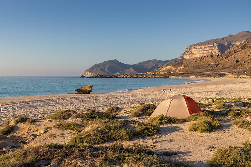 Our tent pitched on the beach at Fazayah, a must visit destination for any Oman camping road trip