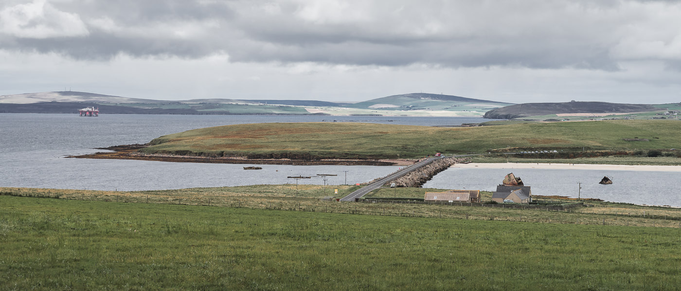 Churchill Barrier 3 stretching across East Weddell Sound in the Orkney Islands, blocking access to Scapa Flow beyond