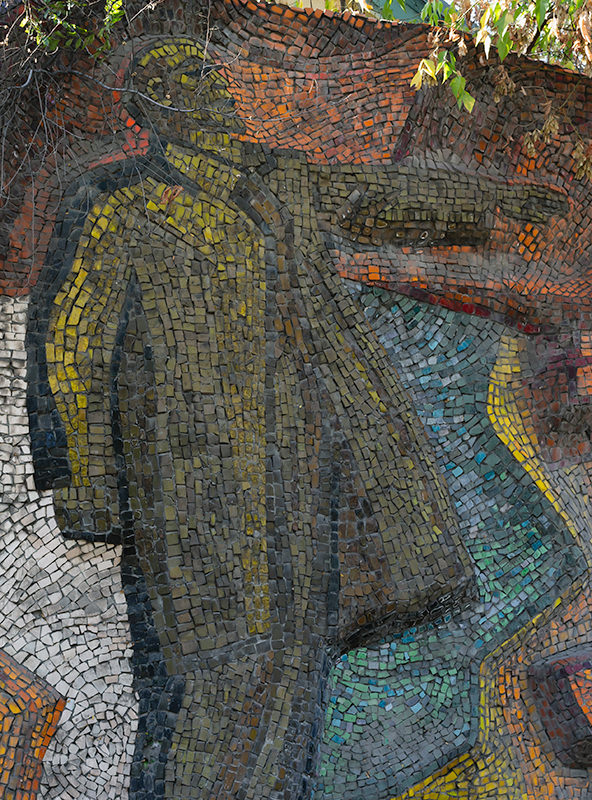 Close up of Lenin from the Soviet mosaic 'Lenin Is With Us' in Bishkek