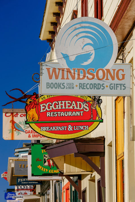A photographic journey: A row of shopfront signs, Fort Bragg, Mendocino County, California, USA