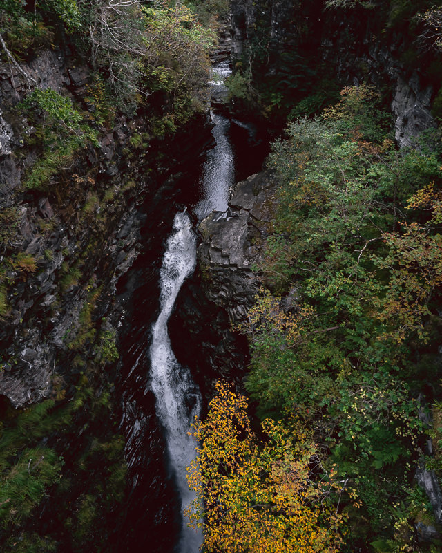Looking down from the bridge to the waterfall in Corrieshalloch Gorge on the North Coast 500 route.