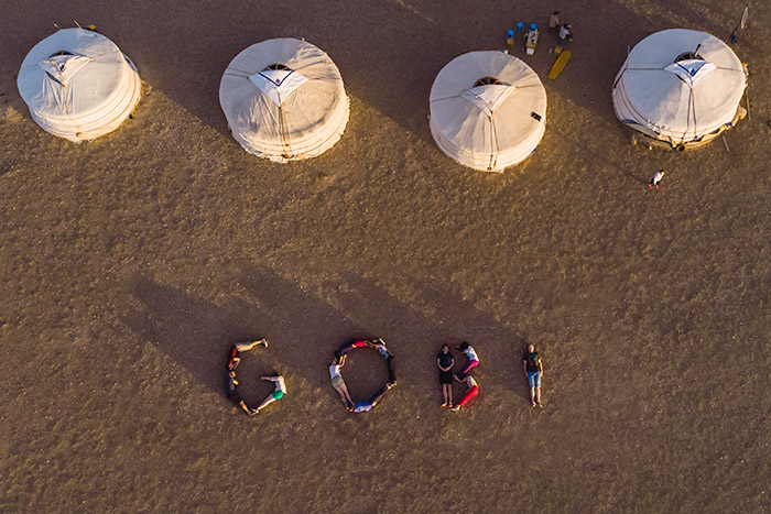 Budget Gobi Tour: Ger camp from above in the Gobi, Mongolia
