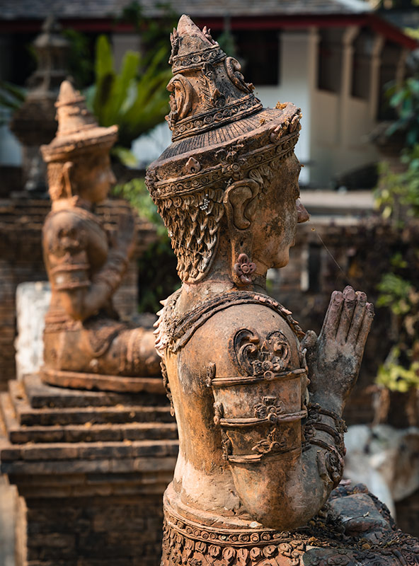 Expertly carved statues at Wat Pha Lat in Chiang Mai in Thailand