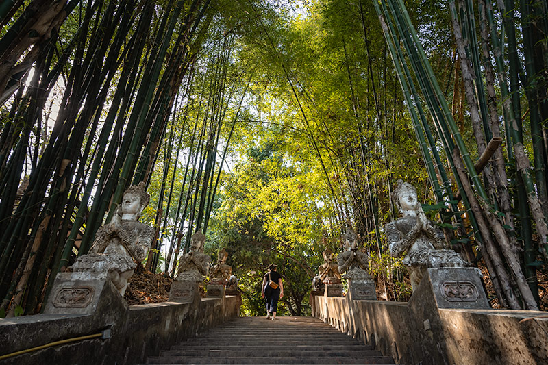Climbing the stone stairs beneath statues, bamboo trees and sunlight at Wat Pha Lat on Doi Suthep mountain in Chiang Mai, Thailand