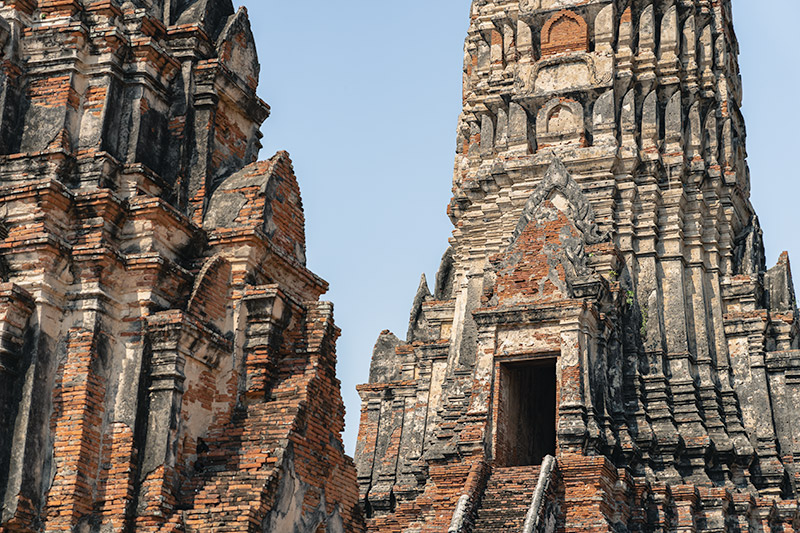 Close up view of the doorway of the central prang at Wat Chaiwattanaram in Ayutthaya, Thailand