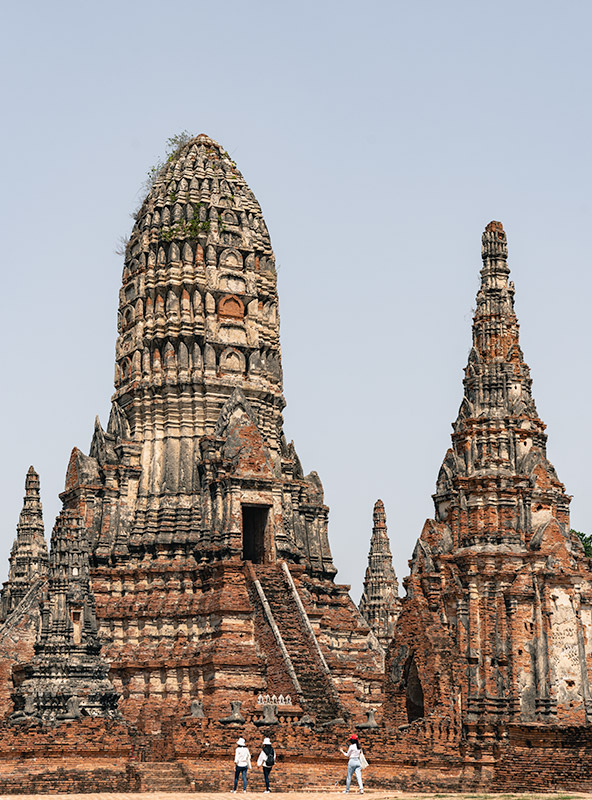 The central prang of Wat Chaiwatthanaram in Ayutthaya, Thailand