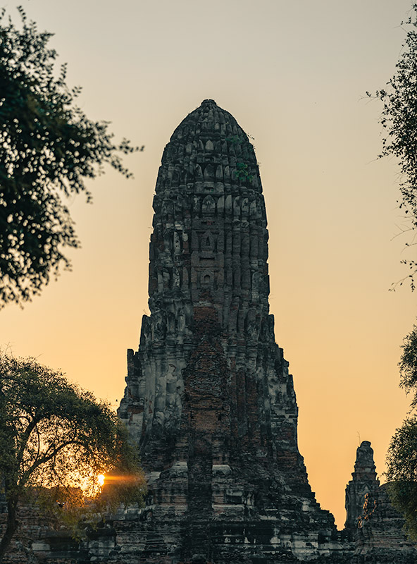 The sun rising behind Wat Phra Ram in Ayutthaya, Thailand