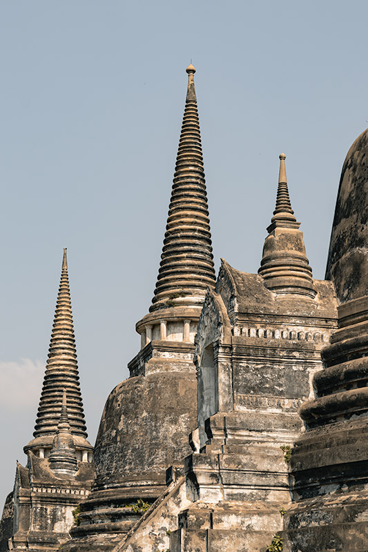 The cone like white towers of Wat Phra Si Sanphet in Ayutthaya, Thailand