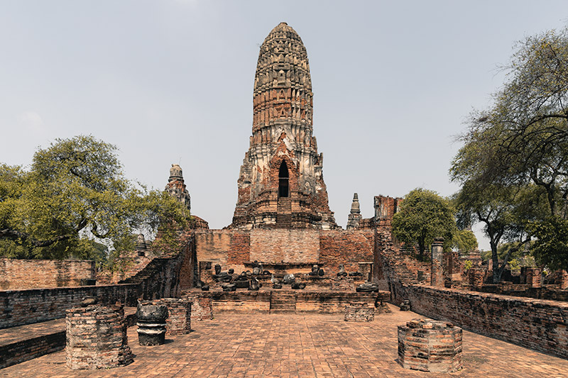 The central prang of Wat Phra Ram in Ayutthaya, Thailand