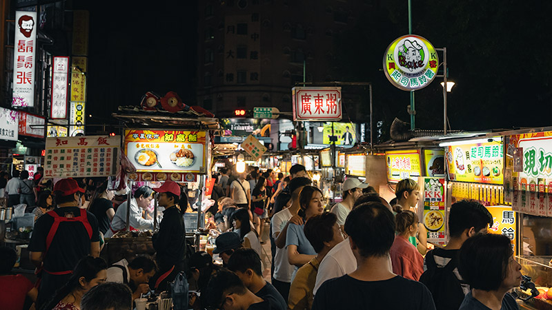 The crowds move slowly down the main artery of Ningxia St. Night Market in Taipei