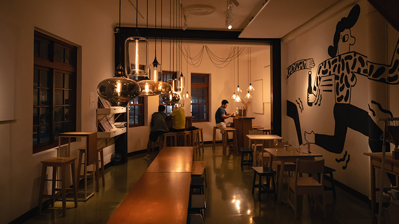 Soft lighting and chic modern design upstairs at Mikkeller, a popular craft beer joint in Dadaocheng, Taipei's oldest neighbourhood