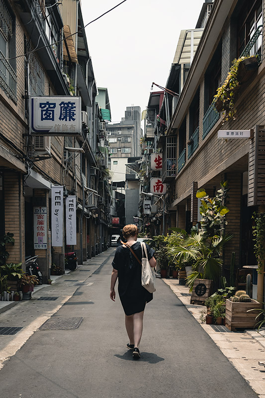 Walking the narrow back lanes surrounded by plants, tiled walls and attractive chinese character building signs in Dadaocheng, Taipei's oldest neighbourhood