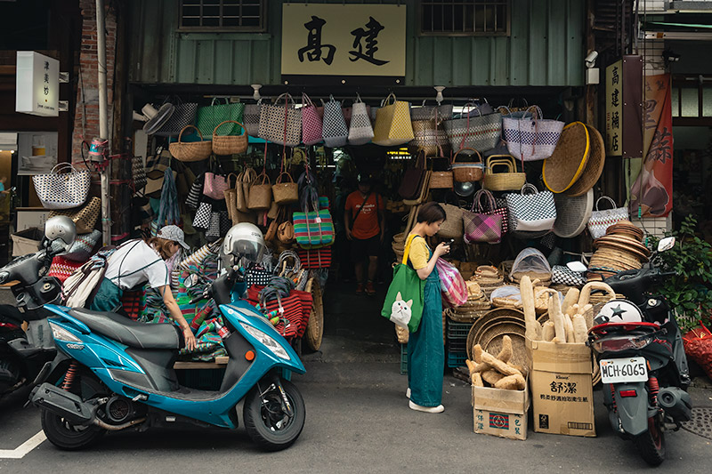 A busy shopfront selling granny bags in Dadaocheng, Taipei's oldest neighbourhood