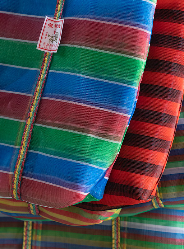 Colourful granny bags on display in Dadaocheng, Taipei's oldest neighbourhood