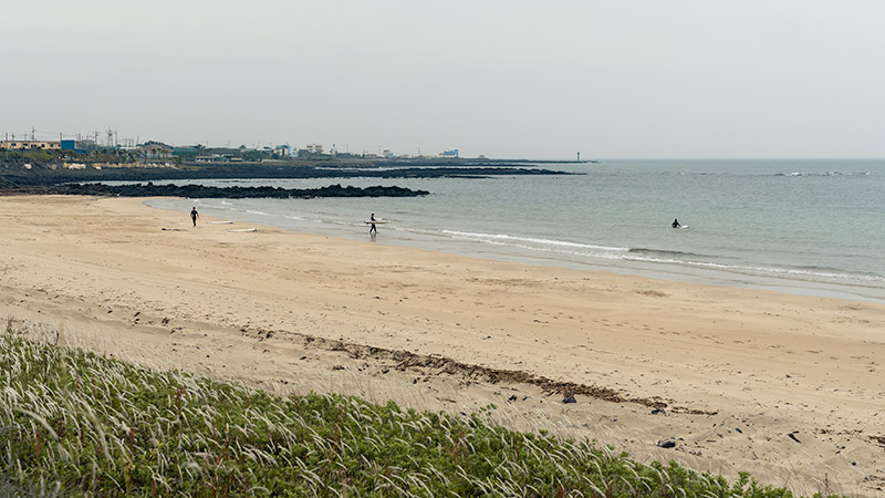 Surfers on the beach and in the water at Pyoseon Beach on Jeju Island.