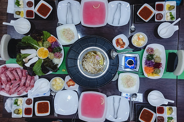 The shabu smorgasboard on offer at the outstanding Wellsam Gui Shabu in Tongyeong