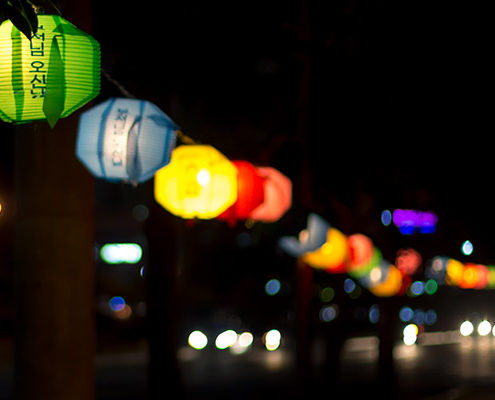How to shoot cinematic video with DSLR Cameras: Colourful Buddha's Birthday Lanterns Strung Up at Night with Shallow Depth of Field, Tongyeong, South Korea