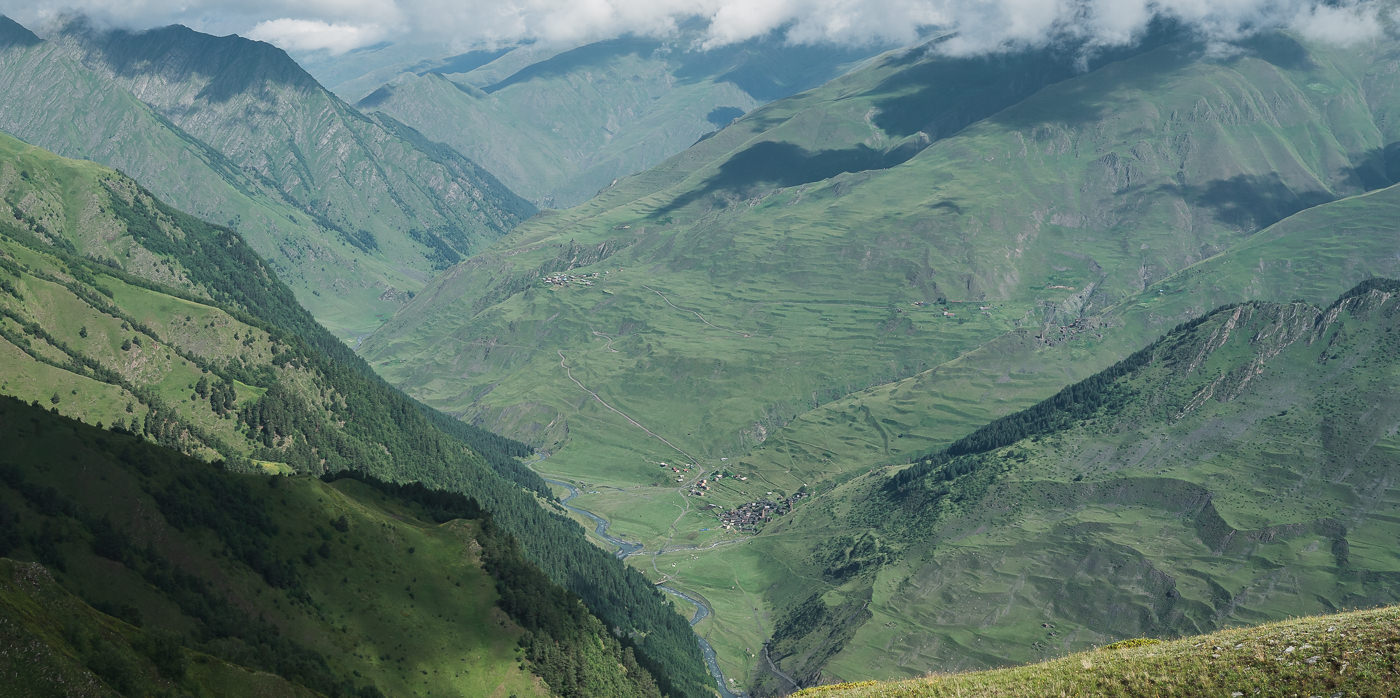 A view down to the village of Dartlo and the Pirikiti Valley from that first viewpoint on the ridge on Day 1 of the Tusheti to Pankisi valley trek